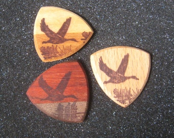 Wooden Guitar Pick Duck or Goose in Flight Guitar or Bass Pick