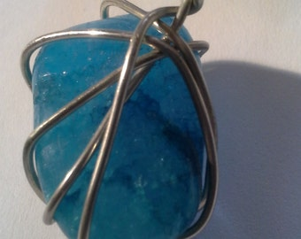 Handcrafted Wired Apatite Ice Blue Stone w/ Black Cord    ''Sale Buy One & Get One Half Price'