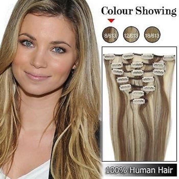18 clip in remy human hair extensions 70g 7pcs 8 613
