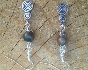 Spiral of Life Picasso Jasper Pagan Earrings Gemstone Pagan/Wicca/Witch/Witcraft/Shamanism/New age/Goth/Boho