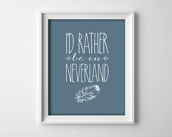 """INSTANT DOWNLOAD 8X10"""" printable digital art file - I'd rather be in neverland - Peter Pan - Feather - Blue - Nursery - Typography"""