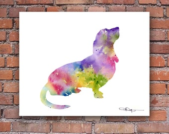 Basset Hound - Art Print - Watercolor - Abstract Painting - Wall Decor