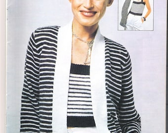 vintage knitting pattern, twin set top and cardigan in navy and white stripes