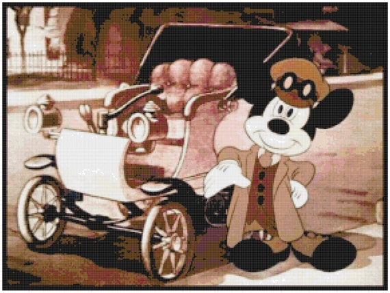 Mickey Mouse with an Antique Car Counted Cross Stitch Pattern 24 Count Aida PDF Instant Download DMC