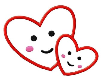 Two Heart Applique Embroidery Design