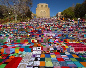 "Photo of handmade blankets in Pretoria at the Voortrekker Monument. Size: 10"" x 8"""