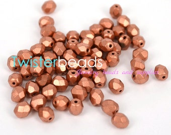 Czech fire polish glass beads 6mm Copper metallic mat (30)