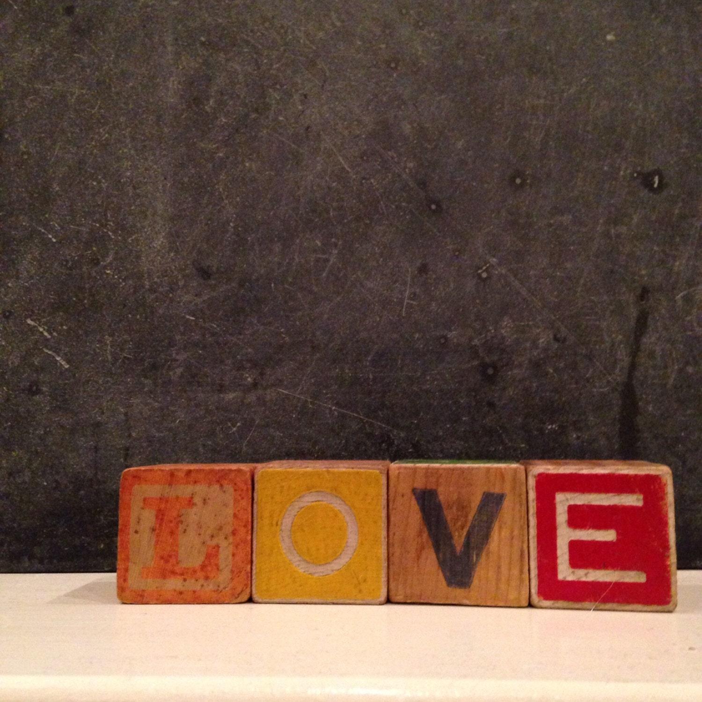 Sale 45% Off // Vintage Wooden Alphabet Letters Spell LOVE