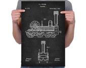 "Vintage 1842 ""Locomotive"" by Robert Stevens, Patent Drawing, Retro Art Print Poster, Wall Art, Home Decor, Train, Railroad, Gift idea"