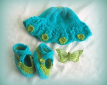 Reiki energy infused Knit Baby Girl Sun Hat, Crochet Booties. Newborn to 3 months, Turquoise & Green, Swarovski Crystals, Baby Shoes