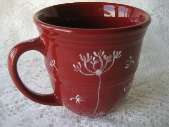 Cup Mug Dandelions design Coffee tea dark red Gift Idea Porcelain ceramic pottery Hand Painted Kiln fired  by B Marsh