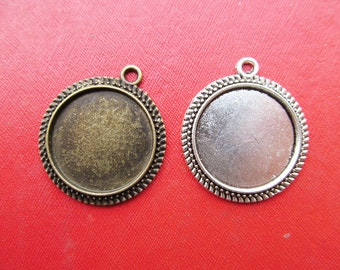 20mm Round  Pendant Bezel Setting, 20mm Cabochon Tray - Great to Match Glass and Epoxy