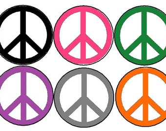 "Set Pack of 10 Colorful Peace Signs Hippie Sign Symbol Love Gift Party Favors 1.25"" 2.25"" Pinback Buttons Badges Pins Magnets Keychains at72"