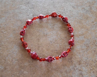 Howlite Crystal Skull Bracelet,  with Carnelian and crystals