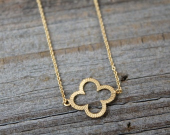 Gold Clover Necklace - 14K Gold Filled Quatrefoil Necklace - Dainty Gold Pendant Necklace - Good Luck Necklace - Minimalist Jewelry