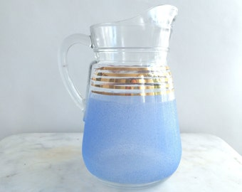 Pitcher - French vintage pitcher - glass pitcher - vintage pitcher - blue pitcher - gold pitcher - 1950s pitcher - French kitchen decor