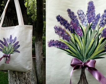 Flower patterned-Handmade-Fabric painting Tote Bag