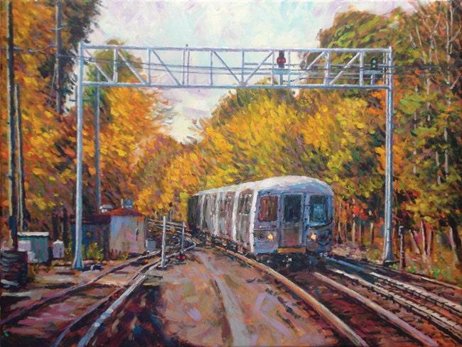 Staten Island Railroad Autumn Original By PadovanoFineArt