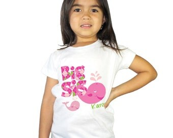 Big Sister Preppy Girl Lolita the Whale kids Shirt for Girls or Baby Bodysuit