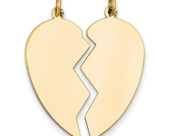 2 piece heart etsy 14k solid yellow gold heart 2 piece disc pendant charm engraved personalized name initials ckld328 mozeypictures Image collections
