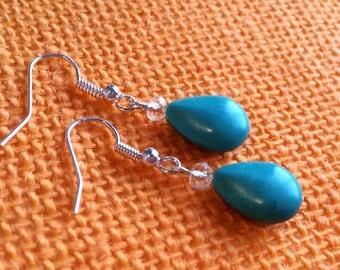 Turquoise colored Teardrop Dangle Earrings