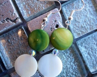 Round Green and White Mother-of-Pearl Dangle Earrings