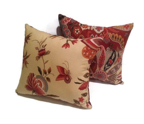 Decorative THROW PILLOW SET red floral toss pillows home