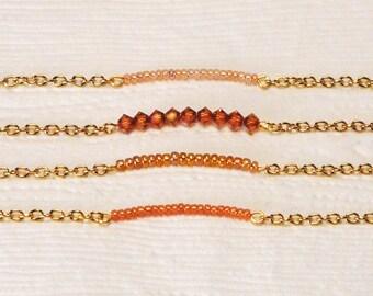 Bridesmaid Bracelet, Gold Jewelry, Orange Jewelry, Bridesmaid Gift, Wedding Jewelry, Minimalist Jewelry, Orange Bracelet, Stackable Bracelet
