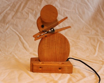 Cute vintage wooden mouse recipe holder
