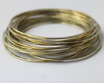 15 pc Brass Bangles, Handmade hammered wire yellow brass stacking Bangles, SET OF 15 faux gold bracelets, Statement jewelry, organic jewelry