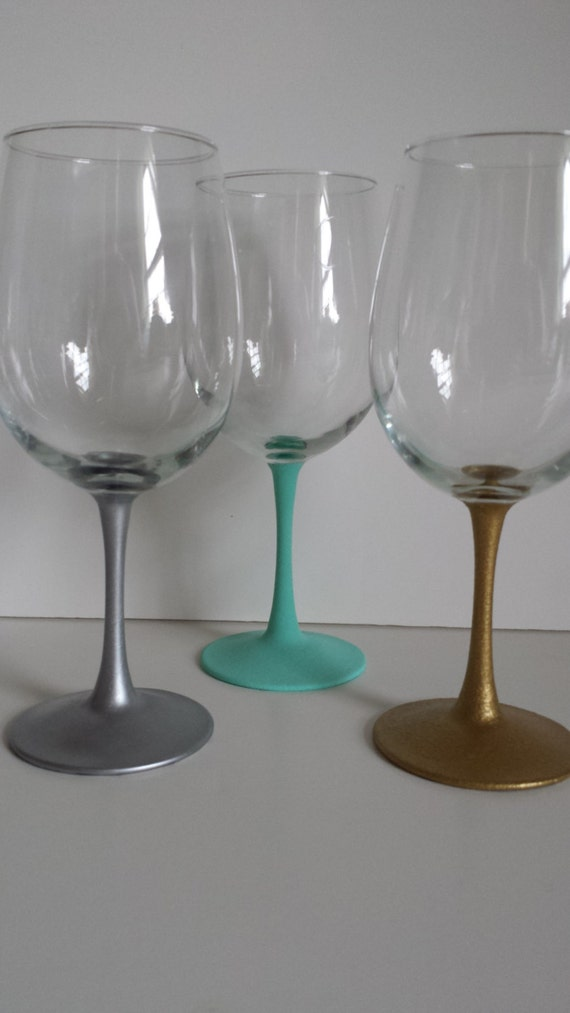 Painted Long Stem Wine Glass Dinner Party Wine Glass