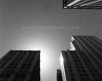 Black and white urban photography: tall buildings against sky & sun. Contemporary art, Chicago skyscrapers, modern decor, Fathers Day gift.