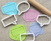Comics speech bubbles cookie cutters set #5, 4 pcs