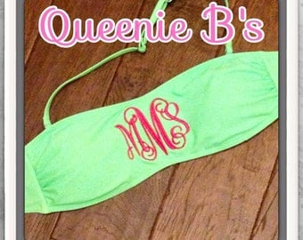 Mint Green Monogram Bandeau Swimsuit Top - 12 Colors To Choose From!
