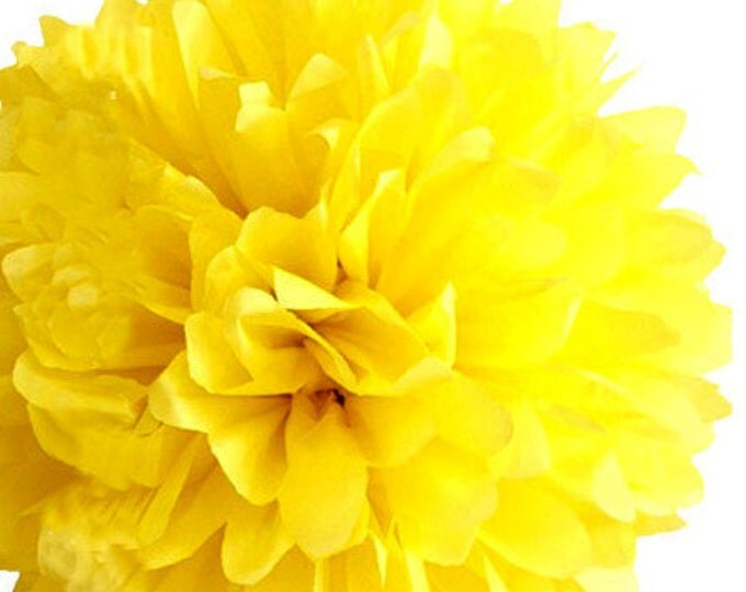 Buttercup Yellow Tissue Paper Pom, Yellow Pom, Yellow Tissue Paper Pom Pom, Yellow Paper Flower, Tissue Flower, Wedding and Birthday Decor