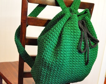 Crochet Book Bag : Back pack large crochet book bag fo r school, work, or to the beach ...