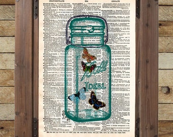 Butterflies dictionary art print, buterflies in mason jar book page art