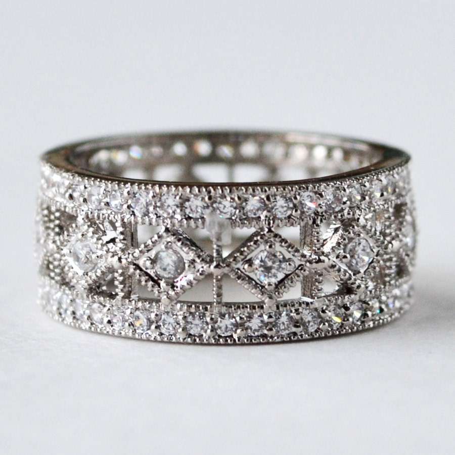 Eternity ring eternity band wedding ring cz by for Engagement wedding and eternity ring