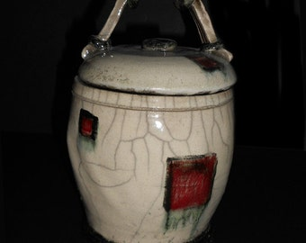 Raku Jar/Ceramic vessel/Lidded Jar/Jar with Lid by Leslie Farin