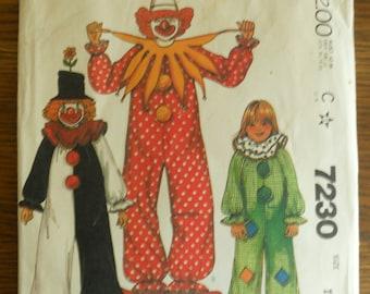 McCall's 7230 Kids' Clown Costume Size 10-12