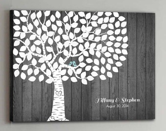 125 Guest CANVAS Wedding Guest Book Rustic Wood Wedding Tree Wedding Guestbook Canvas Alternative Guestbook Canvas Wedding Guestbook - Wood