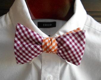 Bow Tie - Virginia Tech Maroon and Orange Reversible Gingham - Men's self tie