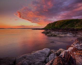Cliffs sunset at  Portencross, Scotland, Canvas Wrap