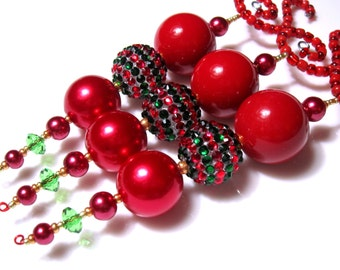 Beaded Christmas Icicle Ornaments with Deluxe Bling Beads in Christmas Green and Red with Red Chunky Pearls  - 3 Christmas Decorations