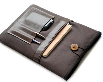 "Canvas Notebooktasche13 ""+ brown leather compartment"