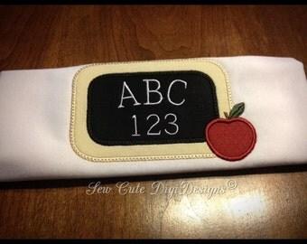 Adorable School Chalkboard ABC 123 Applique