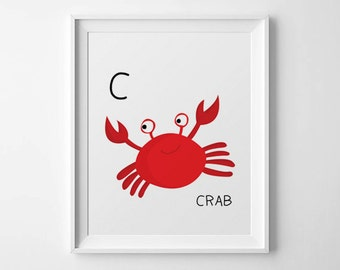 "Nursery art - ""C is for Crab"" - Downloadable PDF File- size 8"" x 10"". Instant Download"