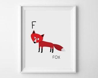 Fox illustration, nursery art printables, downloadable prints, F is for Fox, playroom printables, children room decor nursery decor kids art