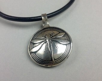 Dragonfly Pendant in Fine Silver