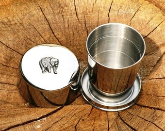 Bear Collapsable Folding Metal Stirrup Shot Cup Gift